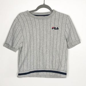 Fila Gray Logo Stripe Crop Top